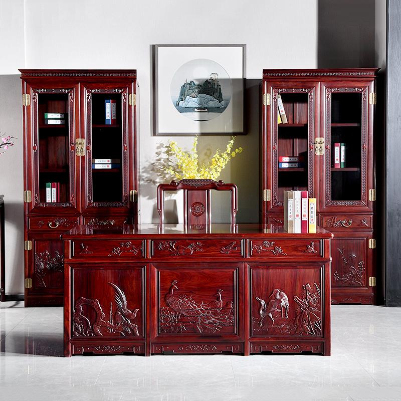 檀雕花鸟办公桌